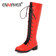 ENMAYER Round Toe Square Heel Thigh High Boots Lace-Up Flat PU Winter Women Short Plush Solid Cross-tied Red Womens Shoes