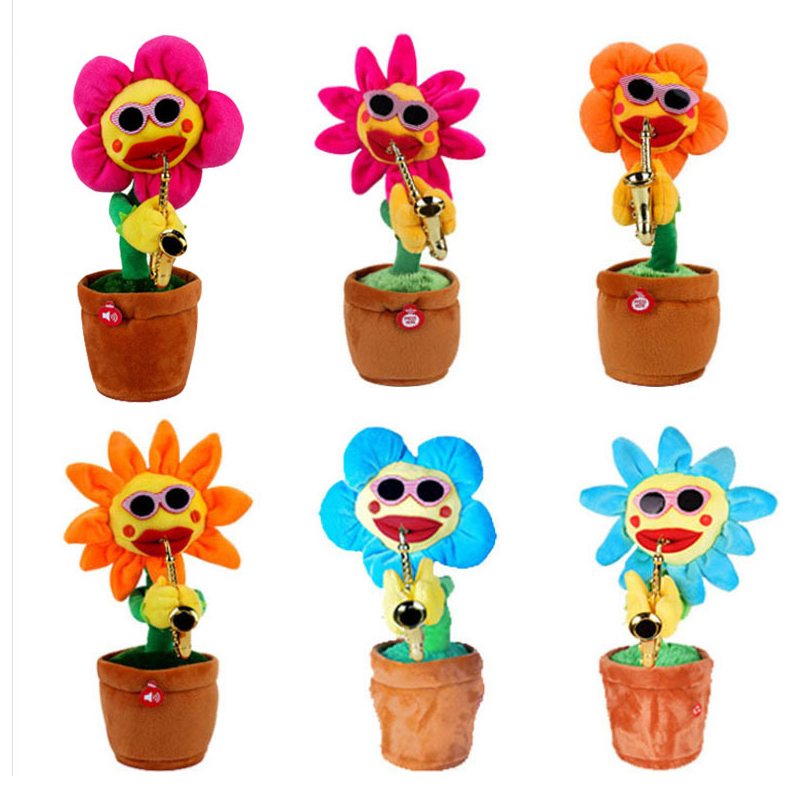 Electric Toys Singing And Dancing Flower Sunflowers Playing Saxophone Funny Gift