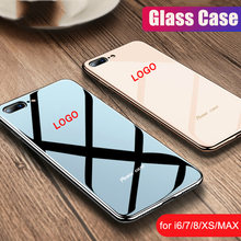 Luxury Plating Edge glass With LOGO Case For iPhone 7 8 Plus Case Solid Color Back Cover For Apple iPhone X XS Max XR Case(China)