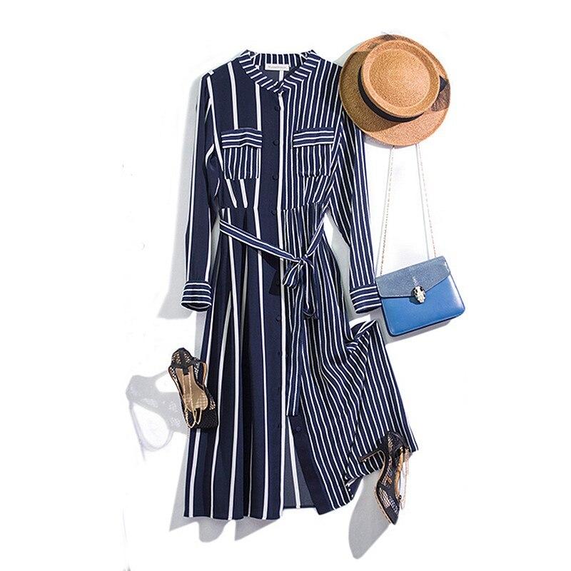 Haute qualité 100% soie robe femmes rayure impression ceintures à manches longues en vrac léger tissu tenue décontractée nouveau Style de mode