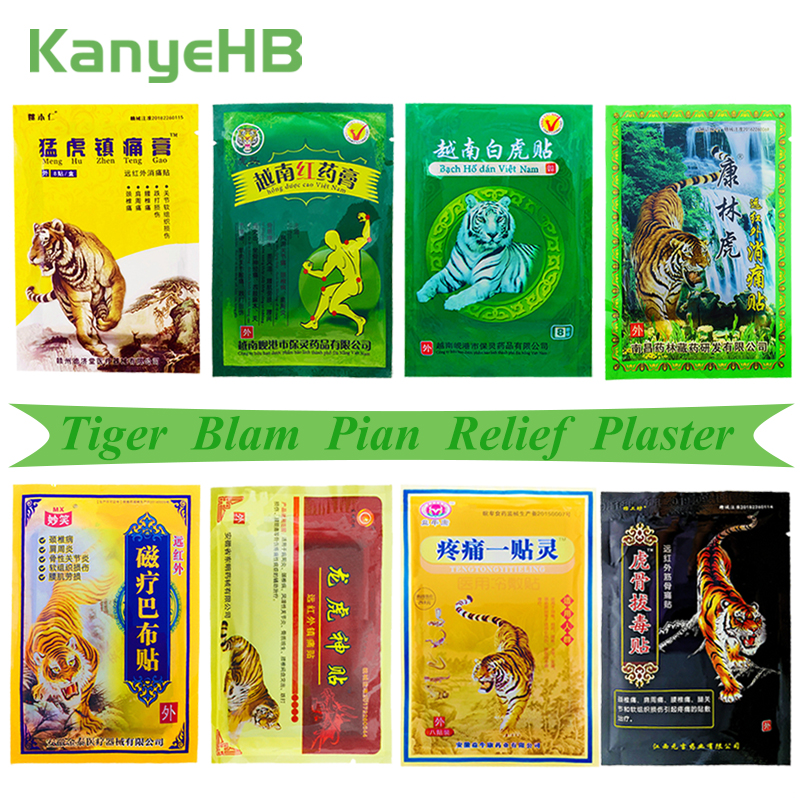 8Pcs/bag Of 8 Different Types Tiger Balm Pain Relief Patches Back Muscle Arthritis 100% Original Natural Herbal Medical Plaster