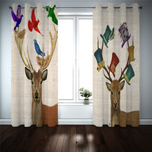 Modern Curtains For window treatments animal Photo Blackout Curtains For Kids Room Living Room Drapes Custom Made(China)