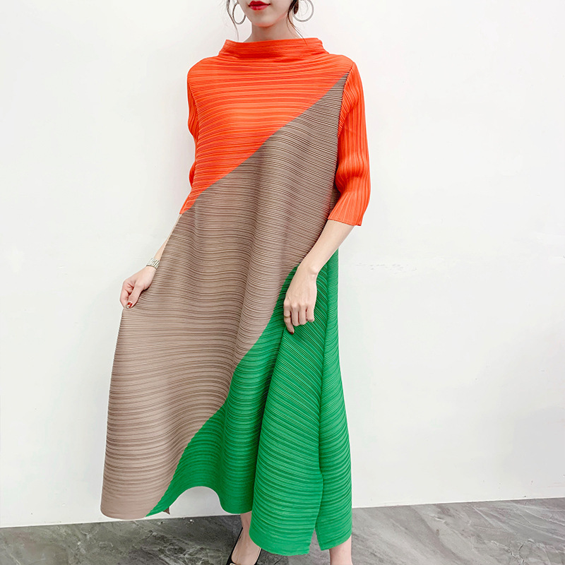 LANMREM Can Ship Pleated Dress Famale 2020 Spring Summer Hit Color Patchwork Half Sleeve Longuette Loose Fashion New Cloth YJ004