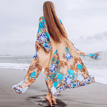 New Style Beach Cover-up WOMEN'S Cotton Print Loose-Fit Sun-resistant Bikini Cover-up Cardigan convertible tribal print cover up
