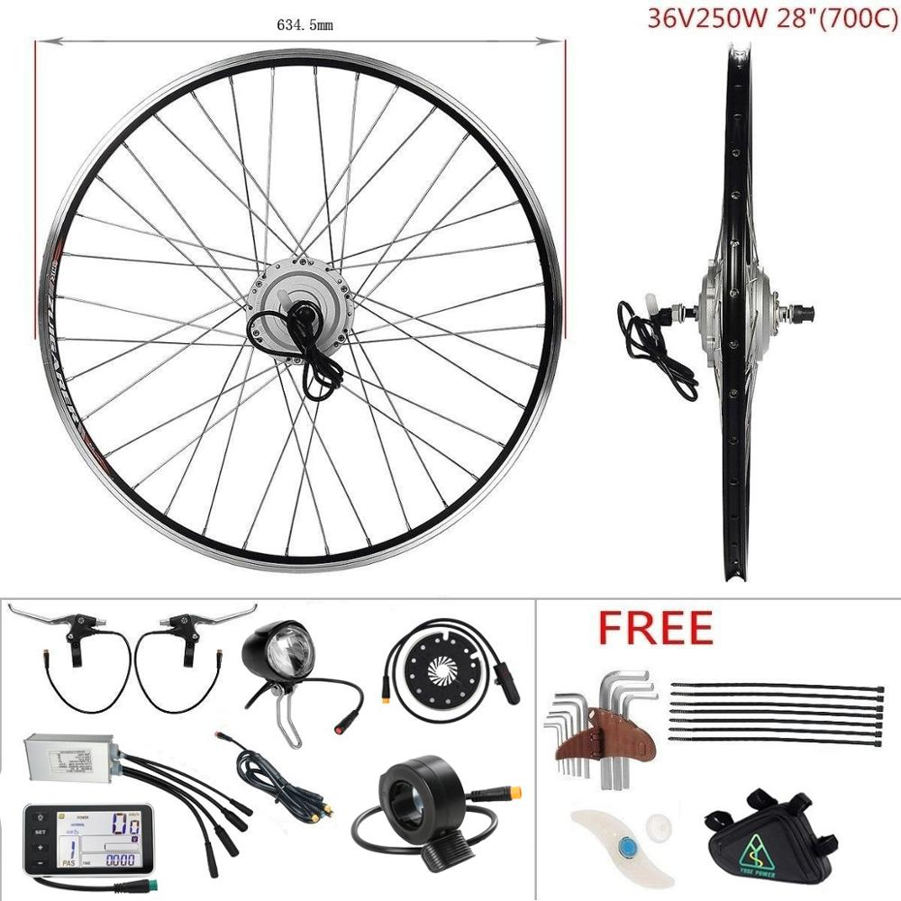 Electric bike kit <font><b>36V</b></font> 250W 28'' Front Wheel Brushless Hub <font><b>Motor</b></font> for Electric Bicycle E bike Conversion Kit moteur roue avant image