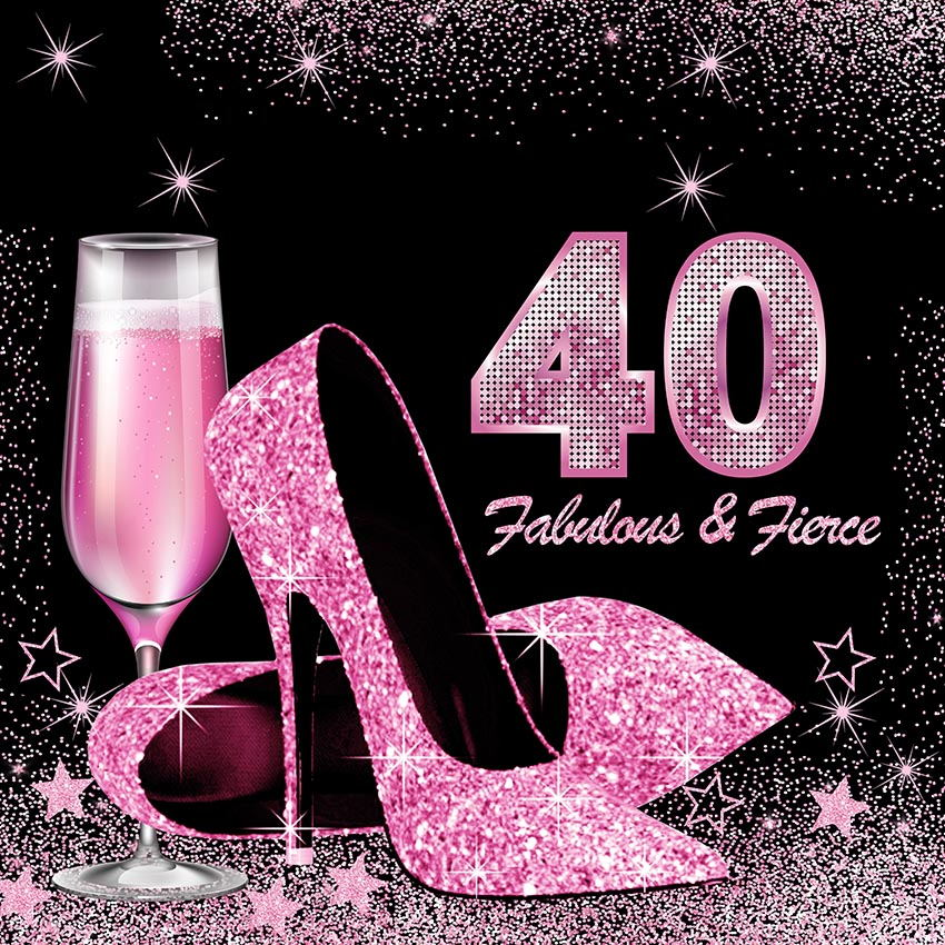 Vinyl Photography Background pink Black Glitter Adult Luxury Lady <font><b>40th</b></font> <font><b>Birthday</b></font> Party High Heels Decor <font><b>Backdrop</b></font> Photo Studio image