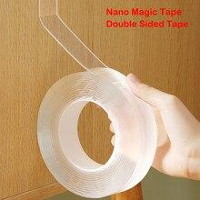 Fita mágica nano transparente de 1m/2m/3m/5m dupla face fita nenhuma fita adesiva impermeável reutilizável da fixação do traço casa limpa