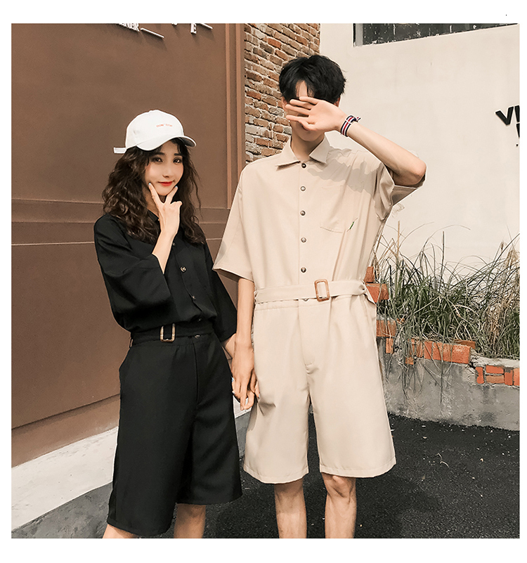 LAPPSTER Jumpsuit Men Harajuku Belt 2020 Summer Couple Women Jumpsuit Plus Size Black Cargo Overalls Pants Korean Style Fashion 81