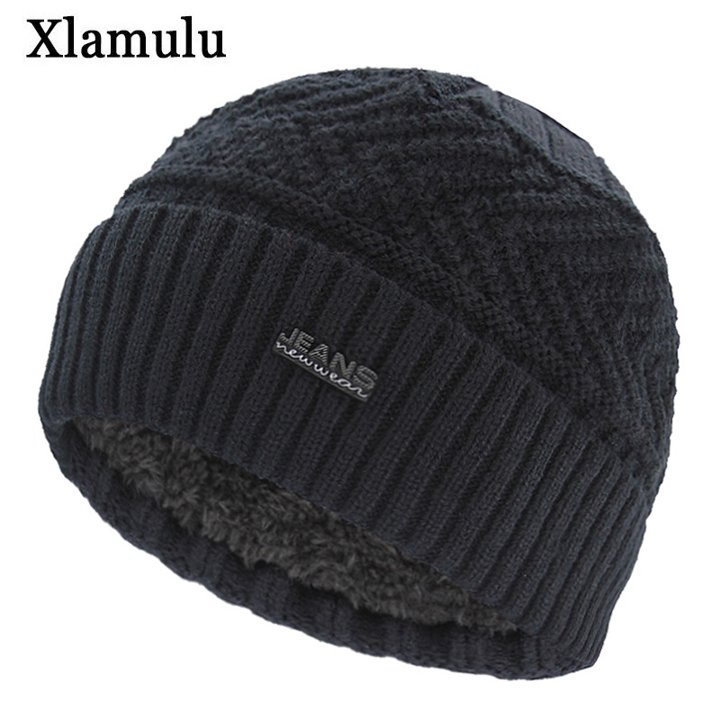 Xlamulu Brand Jeans Skullies Beanies Knitted Hat Winter Hats For Men Warm Beanie Gorros Bonnet Letter Caps Women's Winter Cap