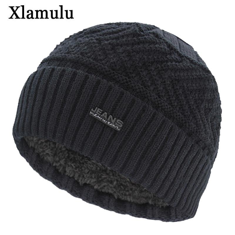 Xlamulu Brand Jeans   Skullies     Beanies   Knitted Hat Winter Hats For Men Warm   Beanie   Gorros Bonnet Letter Caps Women's Winter Cap