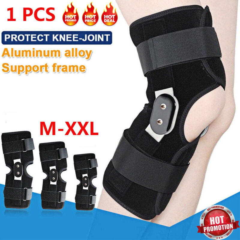 CA Breathable Open Patella Brace Knee Support Twin Hinged Guard Stabilizer Black