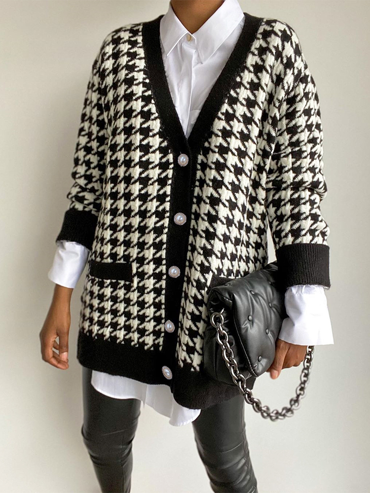 Houndstooth Cardigan Sweater Button Oversized Jumper Knitted Long-Sleeve FSDA Black Autumn