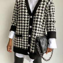 Houndstooth Cardigan Sweater Jumper Button Knitted Loose Oversized Long-Sleeve FSDA Black