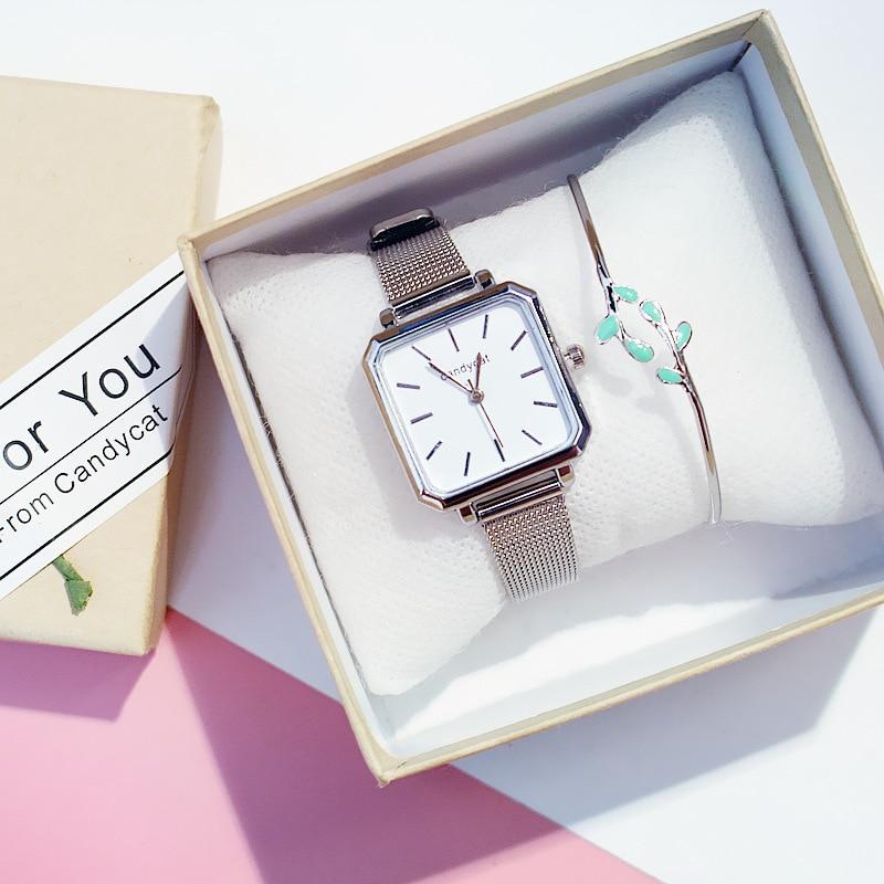 Square Ladies Watch Small Dial Women Quartz Watches Stainless Steel Bracelet Gift Box Set Girls Minimalist White Watch Relogios