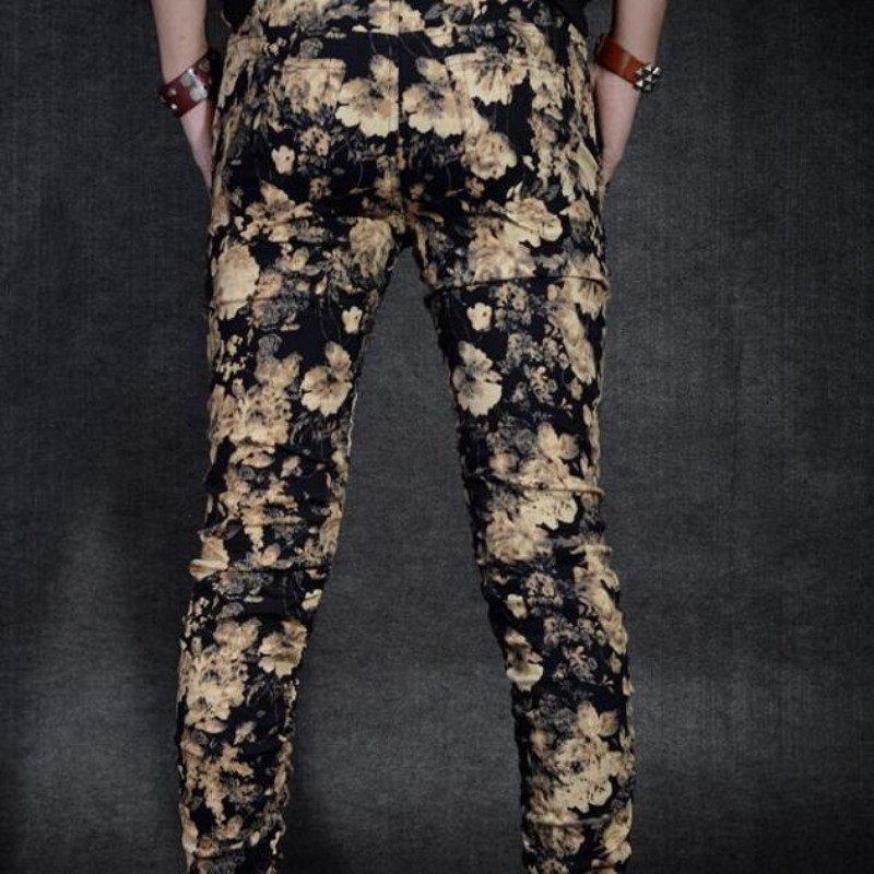 Top Quality New Arrival Flower Printing Mens Skinny Pants For Man Pencil Pants Fit Cotton Casual Mens Trousers Plus Size 28-36