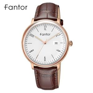 Image 4 - Fantor新ブランドビジネスメンズ腕時計高級ファッションドレスクォーツ腕時計メンズレザーストラップ防水レロジオmasculino