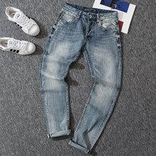 2020 Italian New Style Fashion Men Jeans Blue Color Slim Fit Cotton Classical Casual Pants Designer Buttons