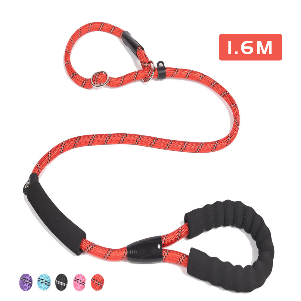 Nylon Pet Leash Outdoor Training Reflective Dog Leashes Double Handle Rope P Style Adjustable Collar Belt For Small Large Dogs