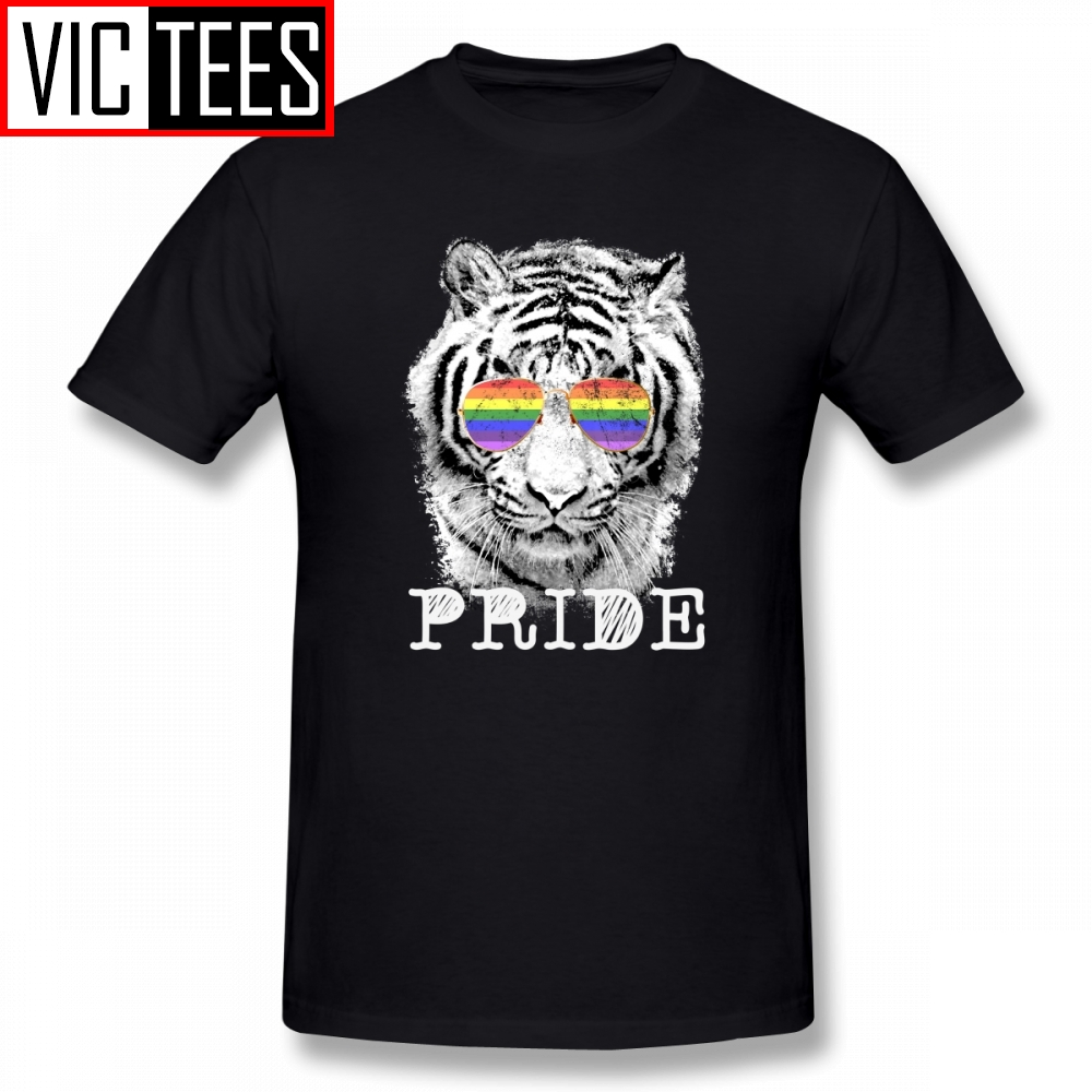 Men's LGBT Tiger Rainbow Glasses Gay Pride T Shirts Pure Cotton Mens T-Shirts Hip Hop Short-Sleeved Tee Shirt Plus Size