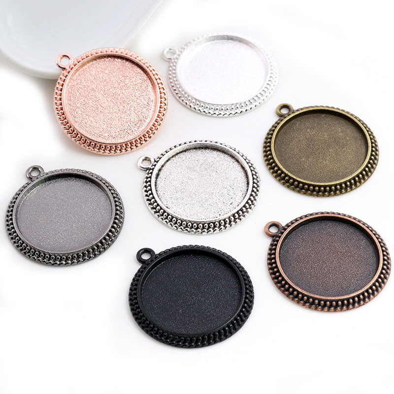 New Fashion 5pcs 25mm Inner Size Antique Silver Plated 7 Colors Vintage Cabochon Base Setting Charms Pendant