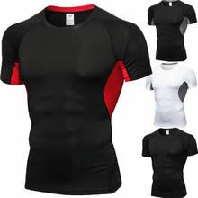 Erkekler kısa kollu spor elastik koşu spor T-shirt sıkıştırma gömlek vücut geliştirme giyim tayt hızlı kurutma üstleri S-2XL