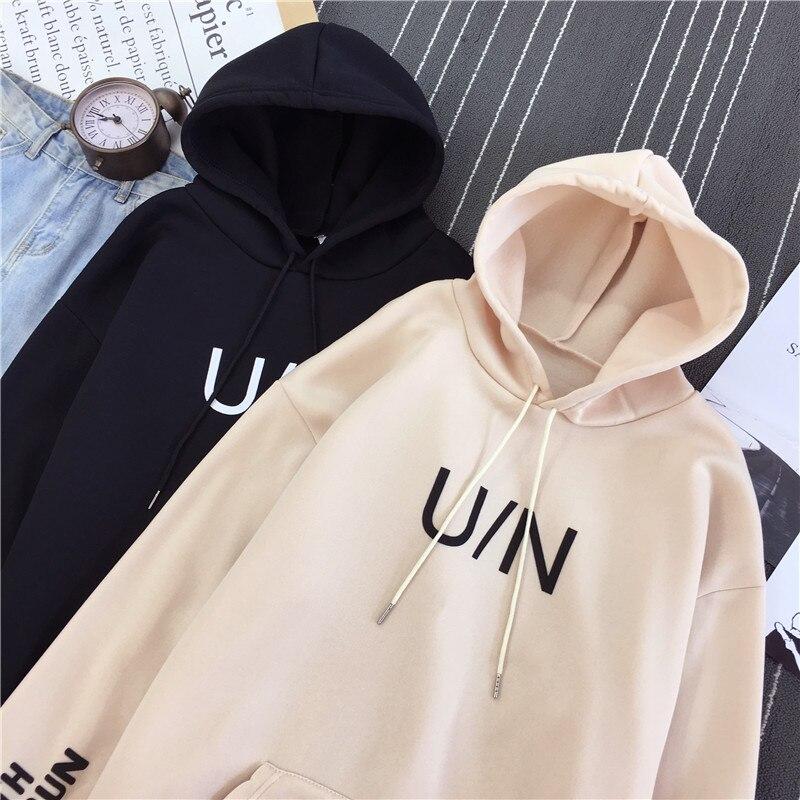 Women Men Hip Hop Fleece Hoody Pullovers Japanese Streetwear U/N Letter Print Hoodies Thick Clothes Autumn Winter Sweatshirts