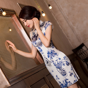 Image 2 - watercolor silk cheongsam qipao a female high end Chinese wind restoring ancient ways cultivate morality substituting