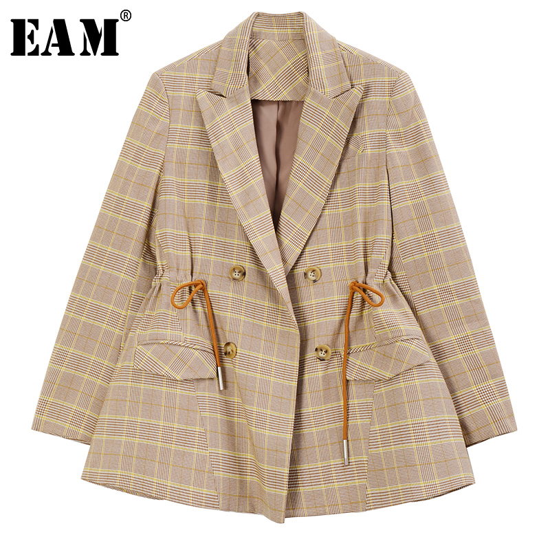 [EAM]  Women Plaid Drawstring Pleated Blazer New Lapel Long Sleeve Loose Fit  Jacket Fashion Tide Spring Autumn 2020 1R924
