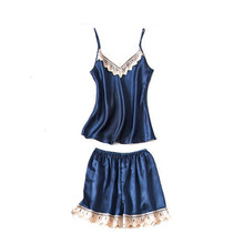 Caiyier Sexy Lingerie Women Silk Stain Pajamas Set V-Neck Lace Nightwear Blue Sleeveless Sling Sleepwear Casual Homwear