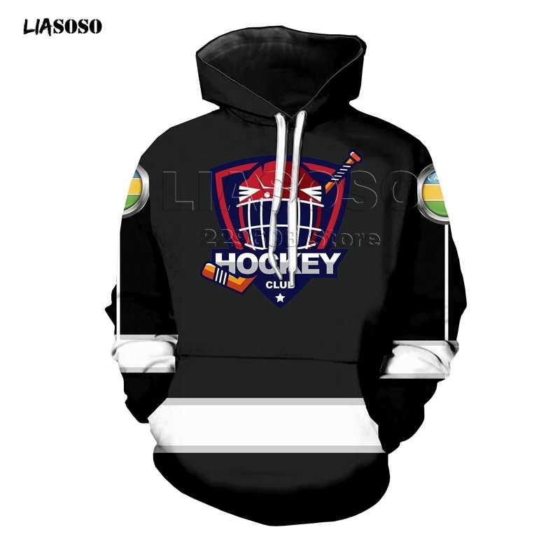 Harajuku Sudadera con capucha mujeres hombres uniforme de hockey 3D negro Hoodie prendas de vestir exteriores Pullover nacional symbol impresión jumper drop
