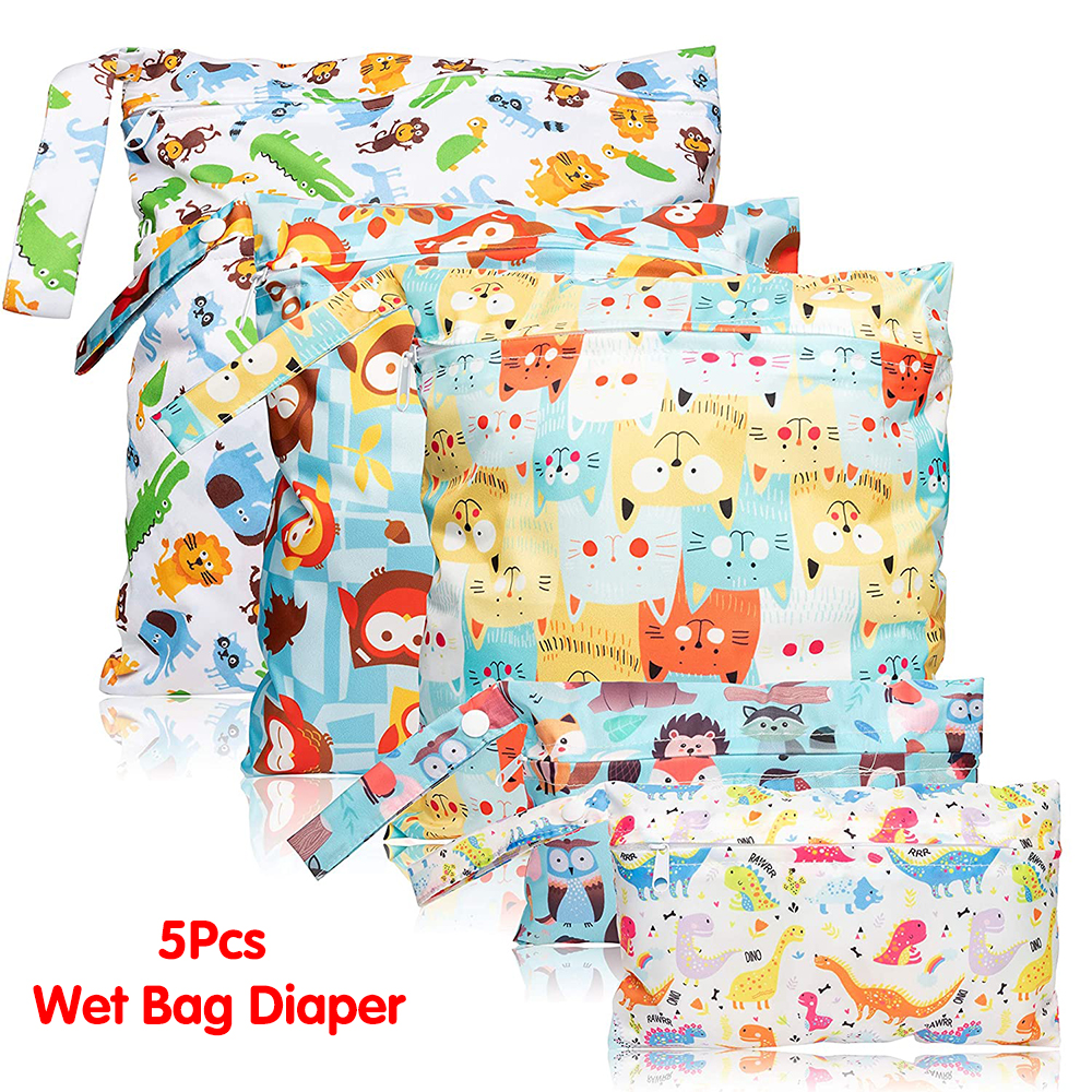 5Pcs Wet Dry Waterproof Reusable Diaper Infant Cloth Bags with Zippered Pockets Beach Pool Bag with Animal Pattern (3 Sizes)