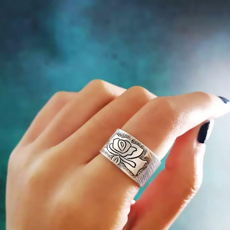 Vintage pivoine fleur 999 en argent Sterling anneaux pour les femmes fiançailles Antique anneau réglable de luxe bijoux Boho chinois ethnique - 5