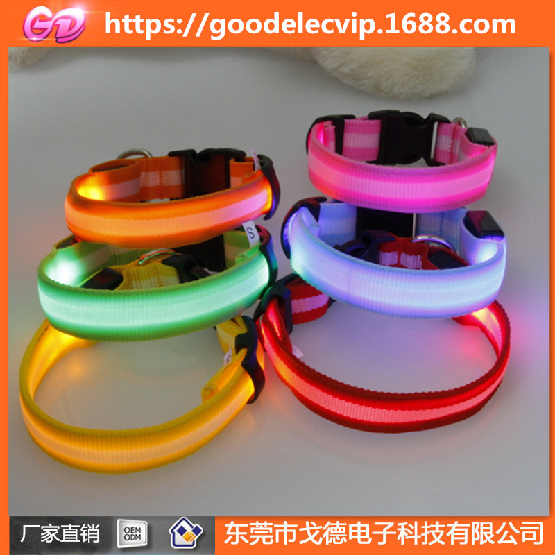 LED Luminous Collar Nylon Dog Collar Light Belt Dog LED Shining Color Ribbon Neck Ring Night Light Dog Collar