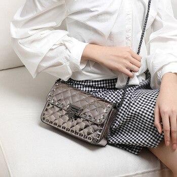Leather Bag WOMEN'S Bag Shoulder Bag Women's Versatile INS Chain Square Sling Bag Riveting Nail Shoulder Bag Genuine Leather Bag