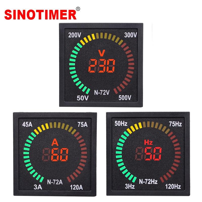 Piazza LED Digital Voltmetro Amperometro Frequenza Corrente Volt di Tensione del Tester Indicatore Tester del Calibro del Tester di Misura AC 50-500V 3-120A 220V
