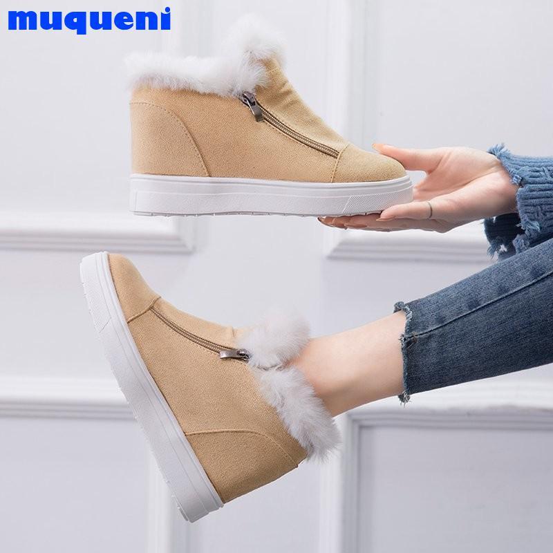 Women Plus Size 35-43 New Fashion Women Snow Boots Comfortable Winter Warm Casual Zipper Platform Suede Punk Shoes Woman 2021