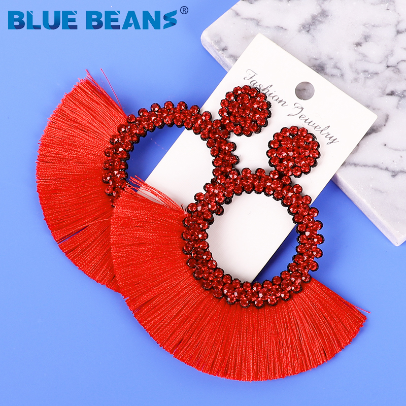 H47242ce311e24928a4101d0e028c3826T - Tassel Earrings Women Punk Earings Fashion Jewelry Hanging Crystal Star Girls Earring Drop Dangle Long Boho Set  Luxury Handmade