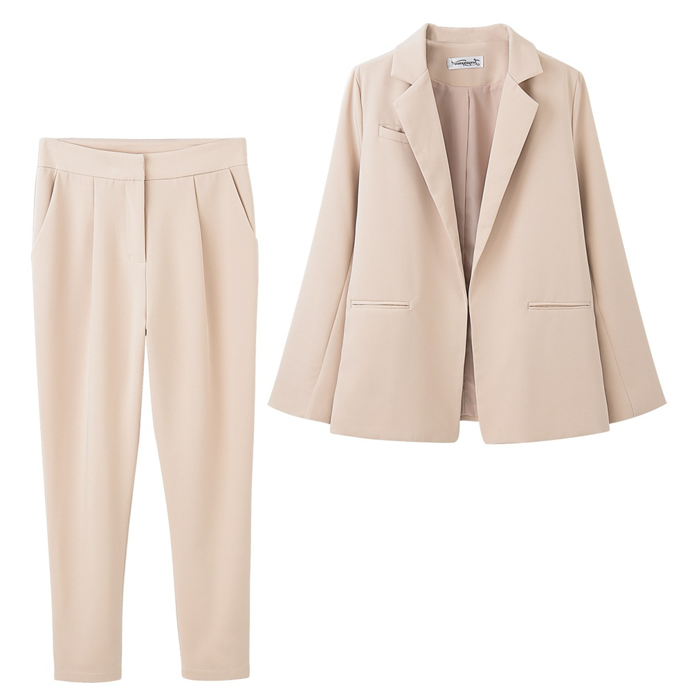 High quality temperament women's pants suit 2019 autumn new solid color jacket two-piece female Business office women's suit