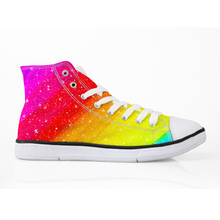 HaoYun Women Vulcanized Shoes Arts Rainbow Painting Pattern Ladies Casual Shoes Lace-Up High top Canvas Shoes Sneakers for Women satin high top candy casual rainbow ladies harajuku flats elevator designer shoes women luxury 2018 lace up sneakers patchwork