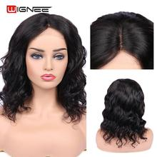 Wignee 4*4 Lace Closure Loose Wave Human Hair Wig For Women Remy Brazilian PrePlucked Natural Hairline ShortCurly