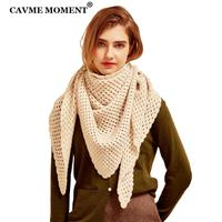 CAVME Handmade Pure Cashmere Triangle Pashmina Scarf Ivy Scarves for Ladies Elegant Women Luxury Shawls Limitted 85*180cm