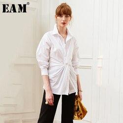 Женская блузка EAM, белая Свободная блузка с длинным рукавом и отложным воротником, весна-осень 2020