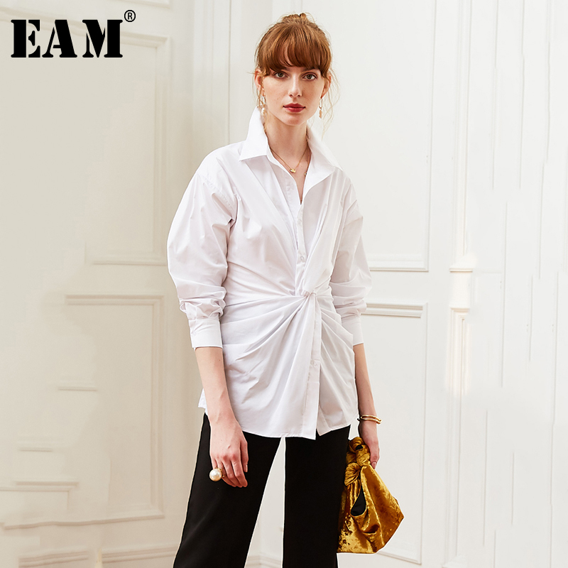 [EAM] Women White Knot Split Joint Temperament Blouse New Lapel Long Sleeve Loose Fit Shirt Fashion Spring Autumn 2020 JW513