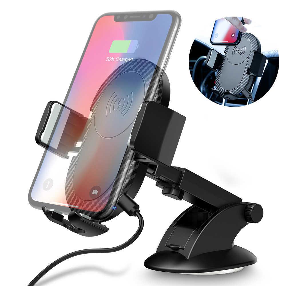 Cargador inalámbrico Qi Universal carga inalámbrica rápida para coche para iPhone X XR XS Max Samsung S8 S9 soporte Flexible para teléfono móvil