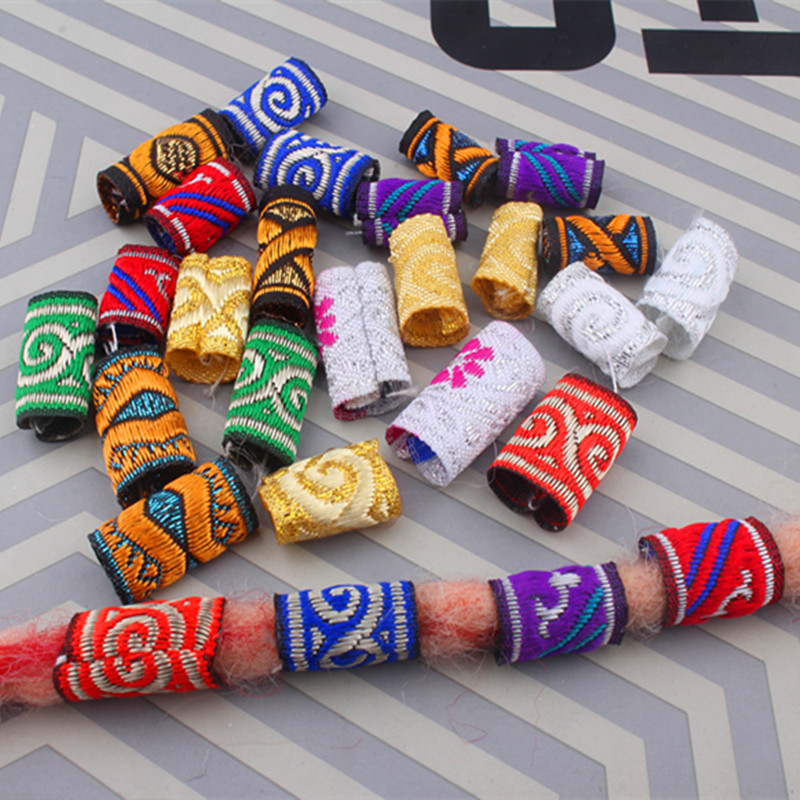 10pcs/lot  Mix Fabric Dread Dreadlock Beads Clips Cuff For Hair Braid Beads Tube 12 Style Hair Accessories
