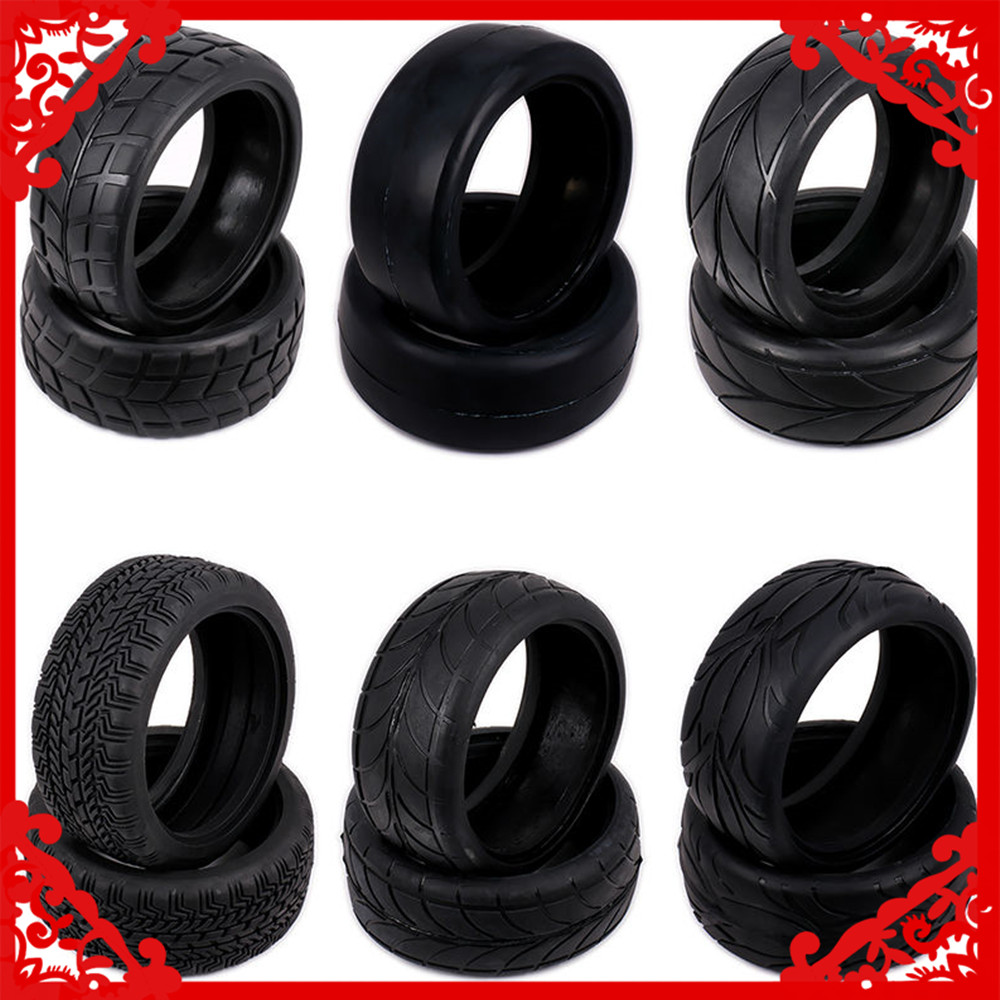 2PCS Kyosho Natural Rubber Tire Tyre For Rc Hobby Car Himoto 1:10 On Road Racing Car HSP HPI Traxxas Redcat  02116