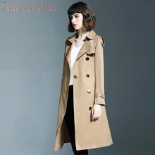 Trench Coat Womens Casual Solid Double Breasted Long Sashes Office Chic Slim Vintage 2019 New Autumn