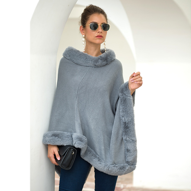 2019 Autumn Winter New Women Capes Cloak Fur Edge Round Neck Pure Color Lady's Knitted Factory Wholesale High Quality