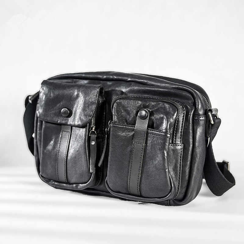 Повседневная мужская сумка-мессенджер из натуральной кожи, модная Роскошная высококачественная повседневная черная сумка на плечо из натуральной воловьей кожи