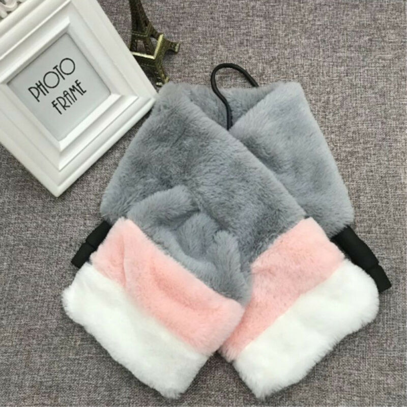 Emmababy Fashion Woman Kids Parent-child Winter Soft Warm Collar Wrap Silk Patchwork Rabbit Fur Thermal Scarves Pashmina Gift